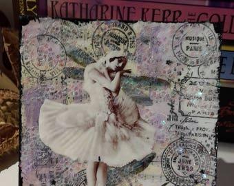 Mini Glitter Art Canvas Vintage Ballerina Photo, Dragonfly and A Million Stars Mixed Media Collage Mini Art