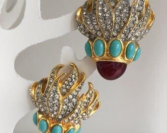 Elisabeth Taylor for Avon earrings Eternal Flame vintage