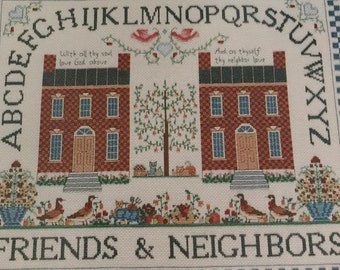 25%CrossStitchPatterns Vintage Kept in Stitches Friends and Neighbors counted cross stitch pattern