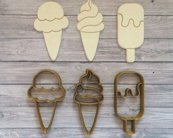 Ice Cream Cookie Cutter Set 3 pcs / Popsicle / Gelato / Ice / Summer / Party / Beach