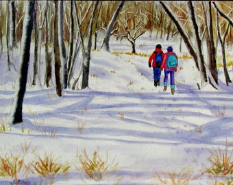 Snow hikers original watercolor snow painting with hikers going into the woods 9x11