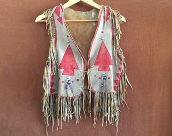 Vintage Native American buckskin fringed vest
