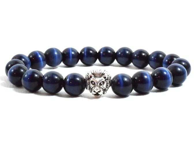 Men's Lion Head Bracelet with Blue Cat's Eye beads.