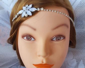 Beautiful Rhinestone & Flower Wedding Headband, Wedding Head Band, Romantic Band, Floral, Wedding Fascinator, Bridal Headpiece, Flower Girl