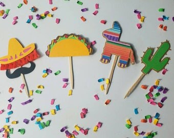 Fiesta cupcake toppers 12pc