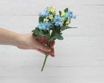 Turquoise blue flowers Fabric flowers Artificial flower bouquet Fake flowers Bouquet Artificial flowers bouquet Camomile bouquet - 1093