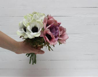 White and purple anemone Bouquet of 6 flowers Artificial flower Fake flowers Bouquet Artificial flowers bouquet  - item 2220