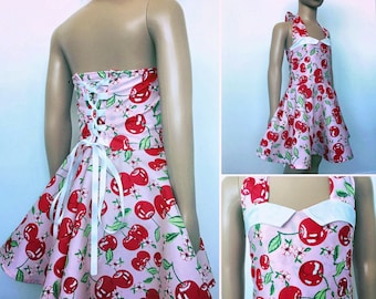 Rockabilly cherry dress - kids pin up dress - sweetheart neckline, corset back - full circle skirt - sizes newborn to 16 - pink and red
