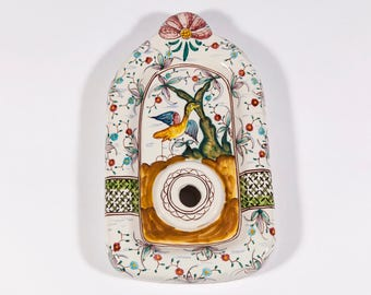 FREE SHIPPING: Vintage Hand Painted Portuguese Ceramic Wall Sconce Unwired Light Fixture