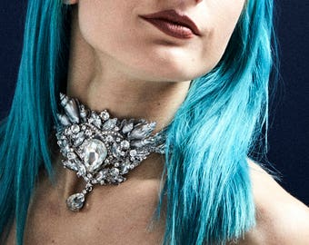 Silver Siren Choker - Crystal Mermaid Jewelry with Hand-painted Shells, Pearls, Silver Lace and Swarovski Crystals