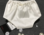 Silk dupioni bloomers, organic cotton baby girl's diaper cover, off white silk panties, ivory silk bloomers, silk diaper cover