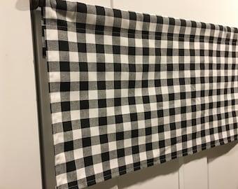 premier prints black and white plaid gingham small buffalo checks valance curtain