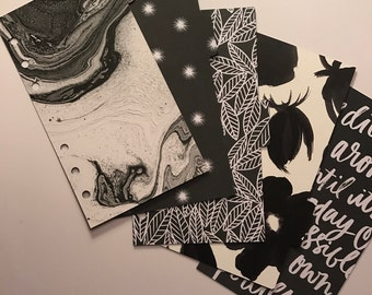 Black & White Beauty - Set of 5 Personal Planner Dividers w/Tabs