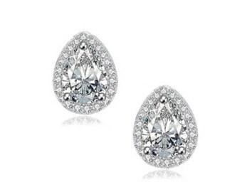 Silver Small and Dainty CZ Wedding Bride Bridesmaid Pierced