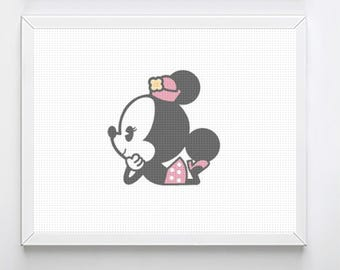 Disney Counted Cross Stitich, Minnie Mouse, Cute, Baby, Girl, cross stitch Pattern,  disney cross stitch, cross stitch pattern, cross stitch