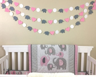 Elephant Garland, Baby Shower, Photo Prop, Birthday Decor, Elephant Theme Party