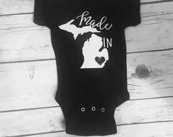 Made In Michigan Bodysuit, Michigan Baby, Michigan Baby Shower, Detroit Baby, Michigan Baptism