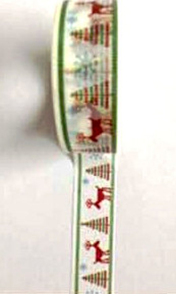Reindeer and Trees Christmas Themed Washi Tape (Japanese Tape, Decorative Adhesive, Decorative Tape)