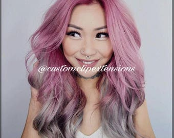 Balayage Pink and Silver Clip Hair Extensions : Pink Clip In Hair Extensions, Silver Hair Extensions, Pink Hair, Custom Hair Extensions,