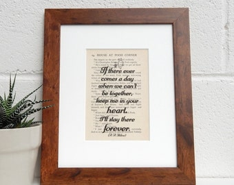 Vintage Winnie the Pooh Book Print - A A Milne Quote Print - Literary Quote - Childrens Room Decor, Nursery Decor, Parting Gift