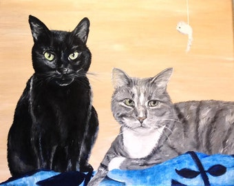 "11""x14"" Custom Painted Acrylic Pet Portrait (two pets)"