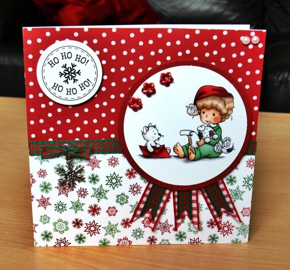 Christmas Card Handmade - luxury personalised unique quality special child UK