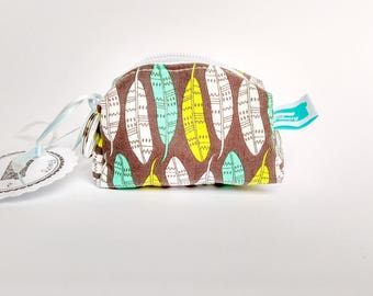 Keychain Bag, wallet with key ring, mini purse, key ring wallet, feathers, Filucry
