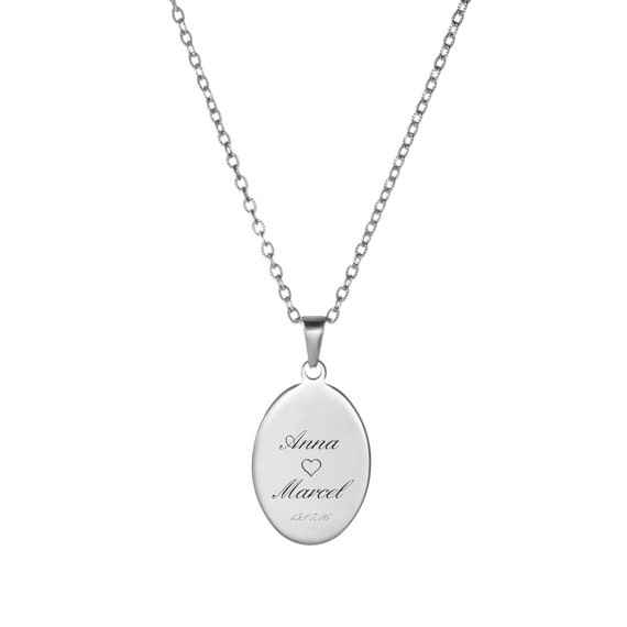 Necklace With Oval Pendant – Beautifully Engraved – Individualised Jewellery With Names and Date Or Initials - Personalised Gift Ideas