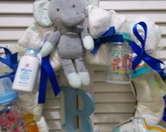 Elephant theme diaper wreath