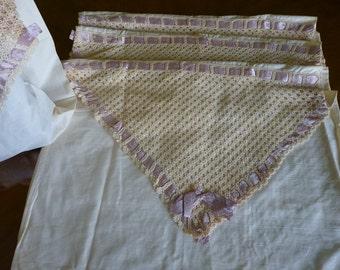 Victorian envelope pillow cases, purple ribbon, antique pillow cases, ca. 1890