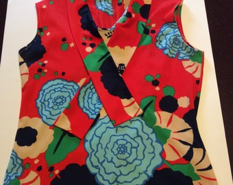 Vintage Floral Sleeveless Women's Top