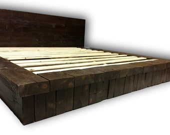 reclaimed wood stack platform bed rustic bed farm house bed - Reclaimed Wood Bed Frame