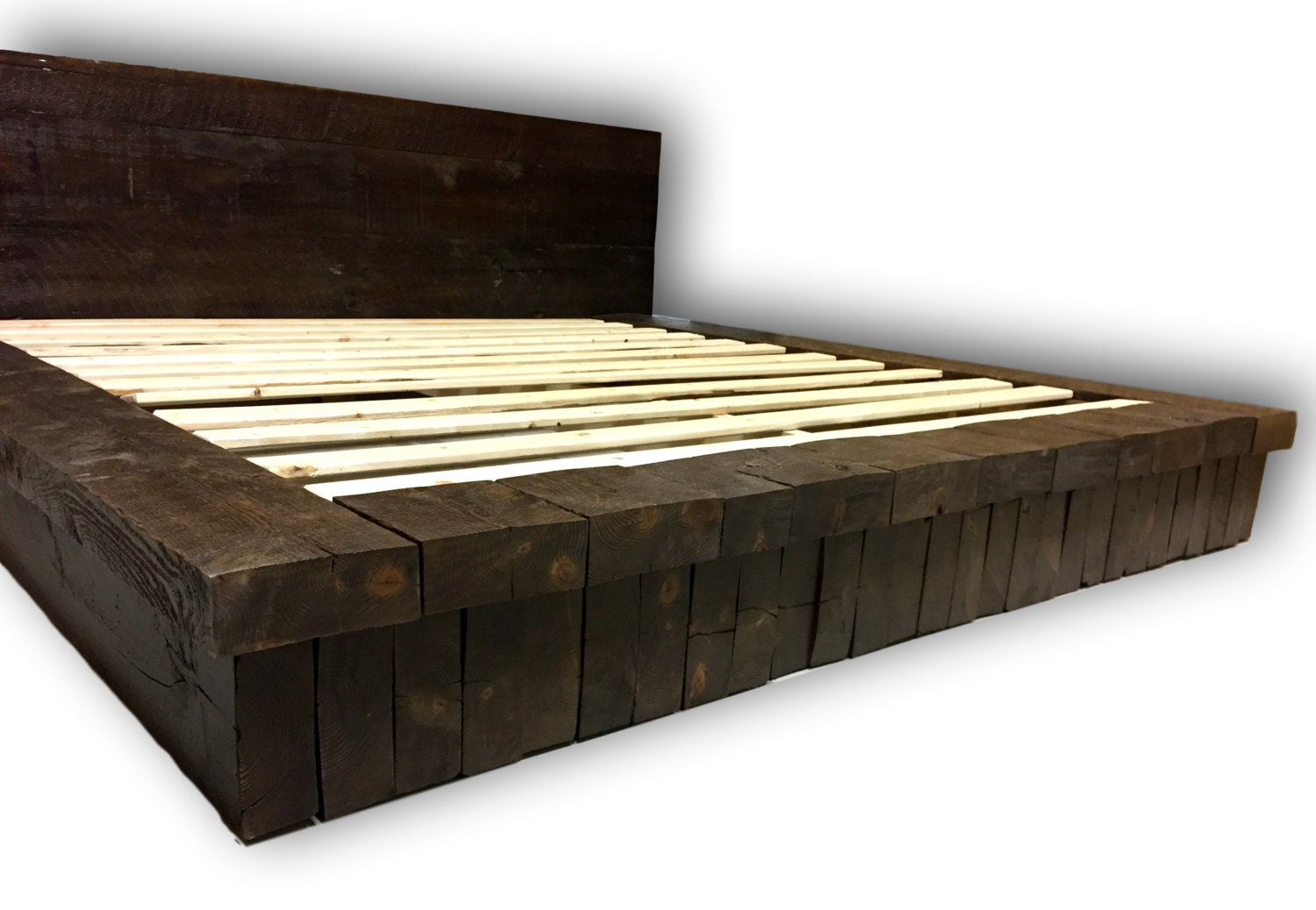 Reclaimed wood stack platform bed rustic bed farm house bed for Recycled wood bed