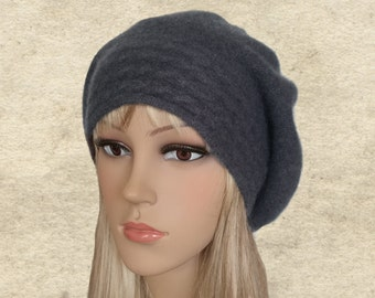 Felt slouchy beret, Felted wool beret, Slouch winter beret, Womens wool beret, Felted beret lady, Felt beret women, Gray felted beret