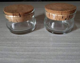 Vintage Glass Jars with Cork Stoppers