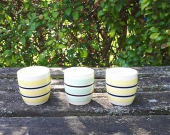 Vintage Set of 3 Striped Egg Cups