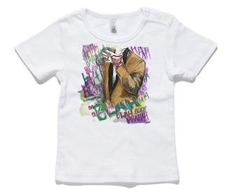 Baby Joker T-Shirt 100% Cotton white and black 0-24 months sizes newborn birth batman
