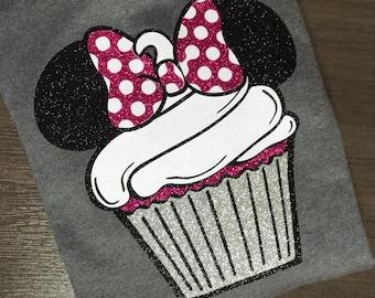 Disney Shirt, birthday, cupcake, girl, minnie, Glitter, Trip, Vacation, Kids, Mens, Ladies, Womens,
