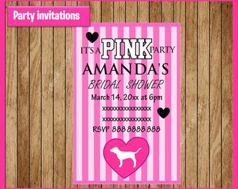 Victorias Secret Pink Invitation, Printable Victoria secret  party invitation, Victoria secret Bridal shower invitation