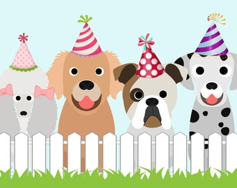 Puppy Party Table Backdrop - Digital File OR Printed Banner - 4x6 ft