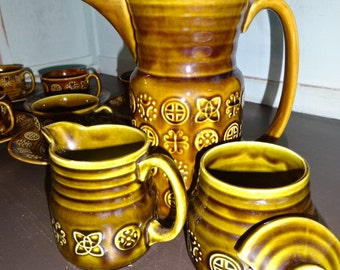 Lord Nelson Pottery Coffee/Tea Set for 6 people/1970's/Retro