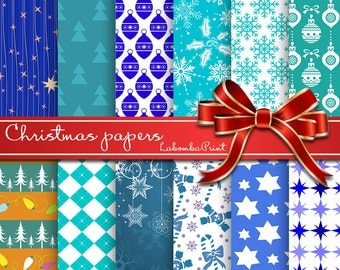 Scrapbook Paper 12x12 Paper Pack Christmas Paper Background Paper Gift Stars Geometry Blue Teal Holiday Paper Printable Background Snowflake