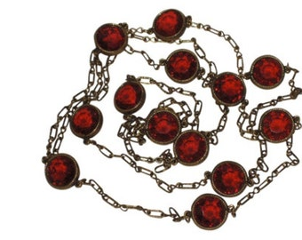 """Accessocraft N.Y.C. 1960's Red Glass Sautoir Necklace 52"""""""