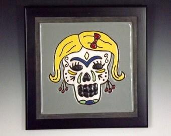 Sugar Skull Ceramic Art Framed Tile #2