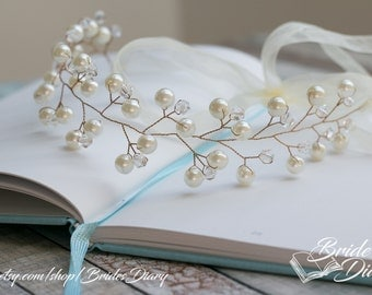Pearls and Crystals Bridal Wreath, bohemian headband , wedding hair vine