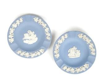 Set of 2 Wedgwood blue jasperware ashtrays, made in England