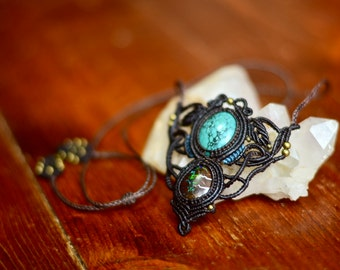 Micro Macrame Necklace with Turquoise and Opal