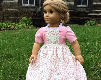 Pink Colonial Dress with Floral Pinner Apron for 18'' dolls like American Girl