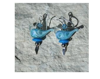 Blue Bird lampwork bead earrings