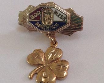 Genuine Vintage 1940's God Bless America, Four Leaf Clover Lucky Irish Shamrock Pendant Lapel Pin, gifts under 15